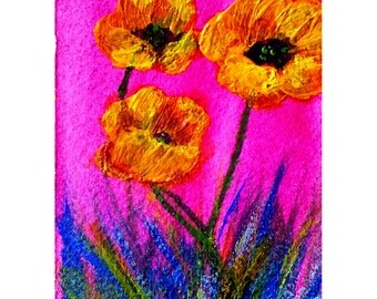 ACEO Original Acrylic Flowers Painting, Bright Happy Artwork, Boho Flavor, Bright Happy Flowers