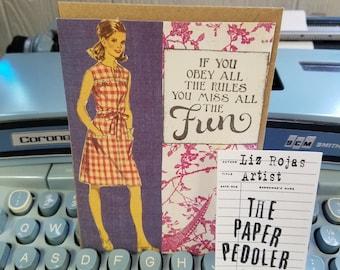Bad Girl Vintage Card Collage Art Card Handmade Hand stamped Blank Inside