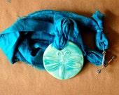 Handmade Ceramic Pendant with an aqua Dragonfly - Sari Yarn Ribbon - perfect for wedding or Blessingway