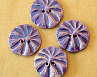 4 Handmade Ceramic Flower Buttons - Poppy buttons in Lavender - Stoneware Focal Buttons - Knitting Supplies - Boho Buttons - Lavender Button