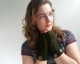 Olive Cashmere Fingerless Gloves. Handknit. Pure Luxury Cashmere.