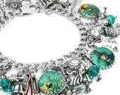 Wizard of OZ Bracelet, Wizard of Oz Charm Bracelet, Glinda the Good Witch Jewelry, Wizard Oz Jewelry, Wizard of Oz Charms, Silver Bracelet