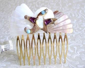 Starfish Hairpiece Vintage Jewelry Hair Comb Amethyst Purple Aqua Blue White Opal Glass Beach Wedding Bohemian Chic Bride Shell Headpiece