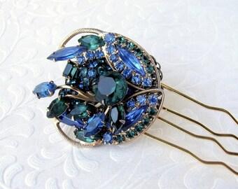 Niagara Blue Green Rhinestone Jeweled Headpiece Wedding Hairpiece Vintage Jewelry Hair Comb Pageant Ballroom Formal Bridal Gold Lapis Kale