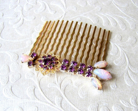 Purple Rhinestone Hair Comb Amethyst Flower Hairpin Opal Glass Vintage Costume Jewelry Jeweled Hairpiece Formal Prom Bohemian Chic Bride