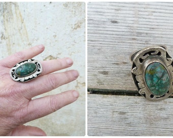 Vintage 1970/70s sterling & malachite jasper Mexican ring