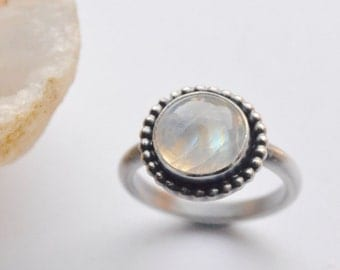 Moonstone Ring, Silver Rainbow Moonstone Ring, Stacking Ring, Stackers, Stylish, Handmade Ring, Modern, EON Design Jewelry