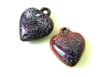 Rustic Enamel Heart Brass Charms