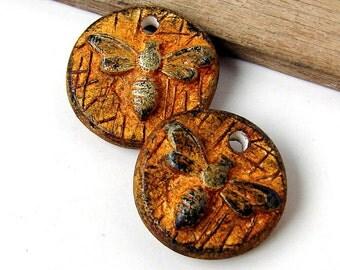 Handmade Polymer Clay Bee Bead/Charm