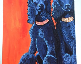 Two Prissy Poodles Original Collage Painting