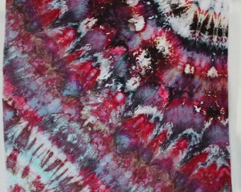 Reserved for Shannon. - Nothern Lights - Pink Black Violet - 1 yard HAND DYED FABRIC - Tuscan Rose Modern Shibori Cotton - TR109