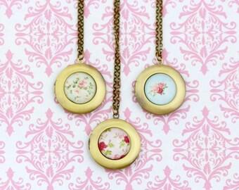 Shabby Chic, Locket Necklace, Brass Locket, Picture Locket Necklace, Flower Locket, Romantic Gift ,For Woman, Memories, Girlfriend Gift