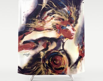 Warrior Woman ... Shower Curtain from Original abstract Colorful Goddess Wicca art painting by Kathy Morton Stanion  EBSQ