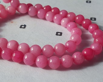 6mm Pink  Dyed Jade full strand