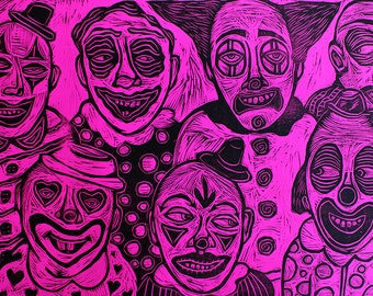 Clowns Woodcut