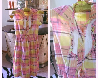SALE Vintage 1950s Dress plaid yellow pink purple day pinup 1960s XS S