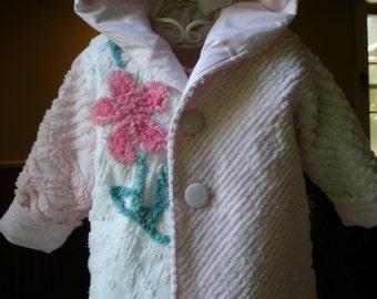 Vintage Chenille Pink White Girl's Hoodie Jacket