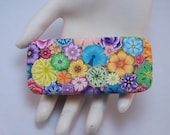 Polymer Clay Covered Sliding Tin Pill Box, Handcrafted Colorful Millefiori Floral