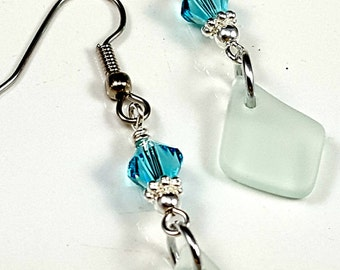 Aqua Sea Glass Earrings Aqua Beach Glass Earrings Sea Glass Jewelry E-173