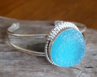 Aqua Sea Glass Cuff Bracelet Blue Sea Glass Sea Glass Jewelry B-226