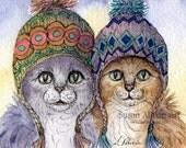Silver tabby cat 8x10 art print knitwear sisters cats in hats fair isle needlework needlewomen textile art knitting pattern Susan Alison