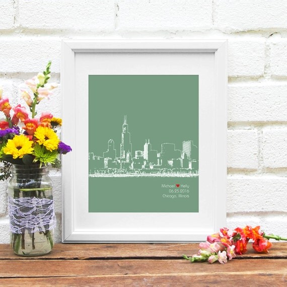 Chicago Skyline Art, Chicago Skyline, Personalized Chicago Art, Chicago Wedding Gift, Anniversary, Illinois, Engagement Gift - 8x10 Print