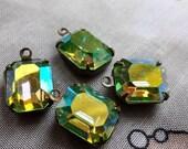 20% off sale Swarovski Vintage Peridot AB 12x10mm Glass Octagon Drops 4 Pcs