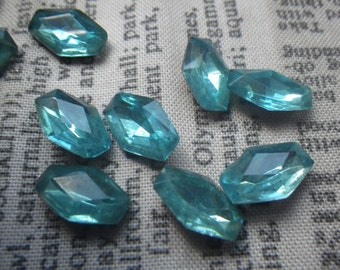 Vintage Aquamarine Blue Coffin Shaped Rhinestones 12x8mm 1970s Glass Gems 10 Pcs