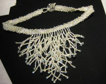 Necklace Choker.  Ice seedbeads and drops beadwoven