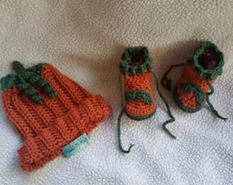 Hand crochet pumpkin hat and booties baby photoprop