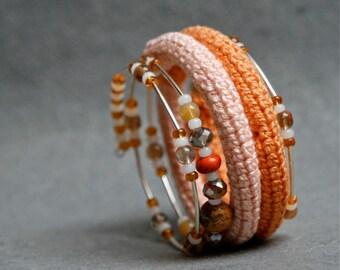 Coil crochet bracelet on memory wire
