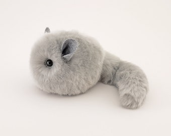 Stuffed Chinchilla Stuffed Animal Cute Plush Toy Chinchilla Kawaii Plushie Comet the Silver Grey Cuddly Faux Fur Chinchilla Small 4x5 Inches