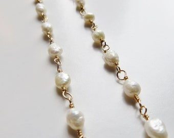 White Rice Pearl, Gold-Fill Necklace, 17 in.