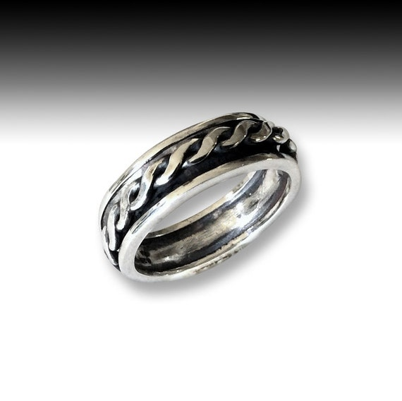 narrow wedding band silver spinner ring unisex ring