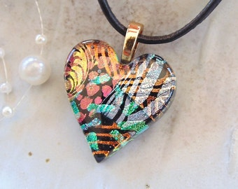 Heart Pendant, Dichroic Pendant, Fused Glass Jewelry, Heart, Necklace, Gold, Green, Copper, Pink, Necklace Included, One of a Kind, A8