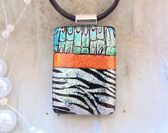 Fused Glass Jewelry, Dichroic Necklace, Glass Jewelry, Fused Pendant, Silver, Orange, Green, Necklace Included, One of a Kind, A10