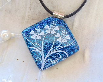 Blue Necklace, Dichroic Glass Pendant, Fused Glass Jewelry, Floral, Necklace Included, A4
