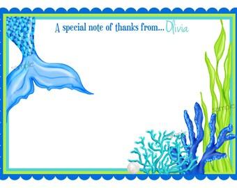 Mermaid Stationery, Mermaid Thank you Notes, Under the Sea invitations, Ocean birthday,  Blue Green Mermaid, Children, Kids, Personalized