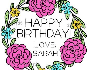 Birthday Gift Stickers,Flower Doodle, Floral,Pink Roses,Birthday gift labels,Custom stickers,Children,Kids,wedding favor labels, Set of 12