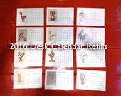Desk Calendar REFILLS, 2016 - Birds and Owls - Includes 4 colour-your-own months - Handmade