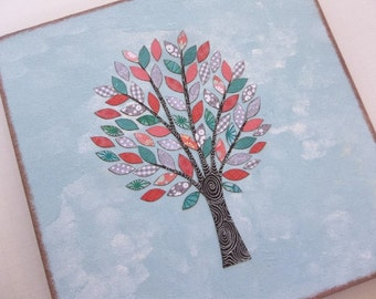 Lazy Susan Couples Wedding Gift Hostess Gift Bridal Shower Kitchen Housewarming  Wood Tabel Top Teal Coral Grey Tree 12 x 12,  READY TO SHIP