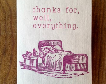 bed thanks letterpress card blank hand printed romance anniversary valentine sexy I love you