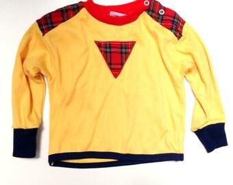 Vintage McDonald's Boy's Sweater // Size 24 Months // Plaid Yellow // 1980's Long Sleeve Shirt // toddler clothing / retro / mckids / black