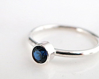 Sapphire ring, blue gemstone, Sterling Silver, Stack ring, minimal, birthstone jewelry