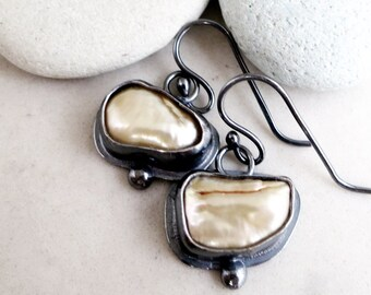 Pearl earrings, Sterling Silver, sand color keshi pearl, oxidized