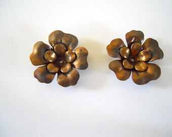 2 Vintage Brass Double Flowers