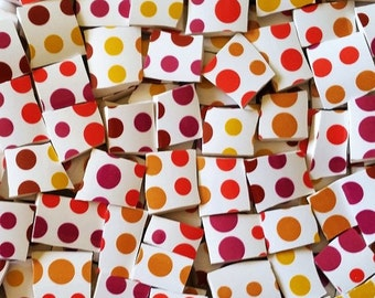 Mosaic Tiles--Polka Dots Galore- 58 pieces