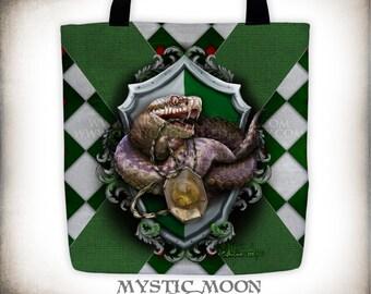Slytherin Tote Bag / Harry Potter / Hogwarts House / Slytherin Crest / Gryffindor / Slytherin / Hufflepuff / Ravenclaw