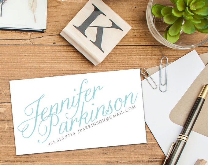 Calligraphy Calling Card, Business Cards, Set of 50 Cards, Set of 100 Cards, Custom Color Calligraphy Cards, Personal Script Cards, Contact