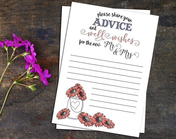 Marriage Advice Pages, DIY Downloadable Wedding Advice Pages for Guests, Create Your Own Book of Wedding Advice from Your Guests, Printable